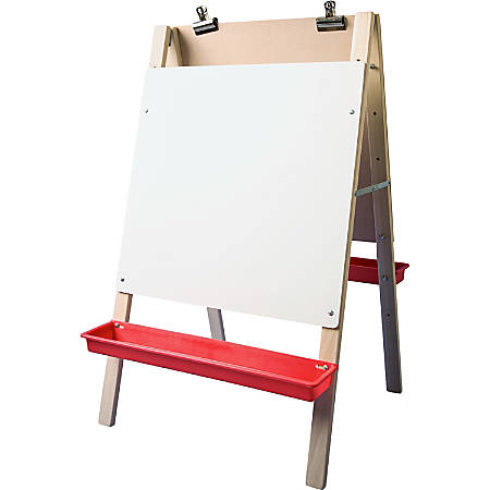 Flipside Dual Surface Preschool Easel - White Hardboard Surface - Hardwood Frame - Rectangle - Floor Standing - Assembly Required - 1 Each