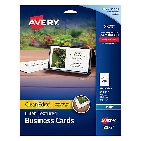 "Avery® Inkjet Clean-Edge Business Cards, 2-Sided, 2"" x 3 1/2"", White Linen, Pack Of 200"