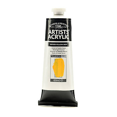 Winsor & Newton Professional Acrylic Colors, 60 mL, Naples Yellow Deep, 425, Pack Of 2