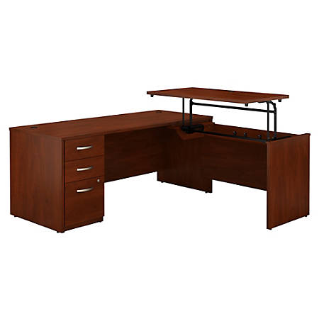 """Bush Business Furniture Components Elite 72""""W 3 Position Sit to Stand L Shaped Desk with 3 Drawer File Cabinet, Hansen Cherry, Standard Delivery"""