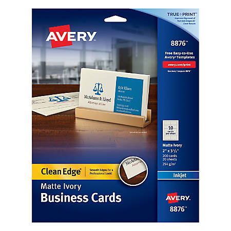 Avery inkjet clean edge business cards 2 sided 2 x 3 12 ivory matte avery inkjet clean edge business cards colourmoves