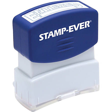"Stamp-Ever Pre-inked Entered Stamp - Message Stamp - ""ENTERED"" - 0.56"" Impression Width x 1.69"" Impression Length - 50000 Impression(s) - Blue - 1 Each"