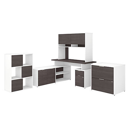 """Bush Business Furniture Jamestown 60""""W L-Shaped Desk With Hutch, Lateral File Cabinet And 6-Cube Organizer, Storm Gray/White, Premium Installation"""