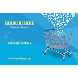 Adhesive Sign Shopping Carts Horizontal