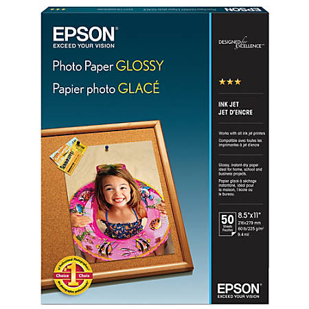 """Epson® Glossy Photo Paper, 8 1/2"""" x 11"""", Pack Of 50 Sheets"""