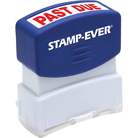 """Stamp-Ever Pre-inked Past Due Stamp - Message Stamp - """"PAST DUE"""" - 0.56"""" Impression Width x 1.69"""" Impression Length - 50000 Impression(s) - Red - 1 Each"""