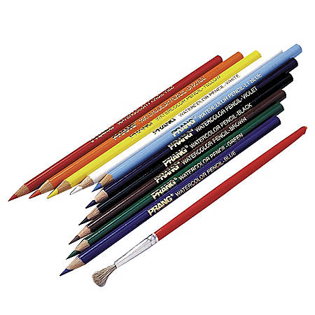 Prang® Watercolor Pencils With Brush, Assorted Colors, Pack Of 10