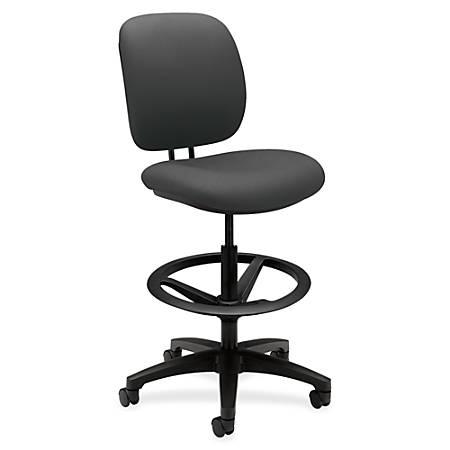 "HON ComforTask Stool, Iron Ore Fabric - Polymer Iron, Olefin Seat - Polymer Iron, Olefin Back - 5-star Base - 20"" Seat Width x 18"" Seat Depth - 26.8"" Width x 30"" Depth x 49.8"" Height"