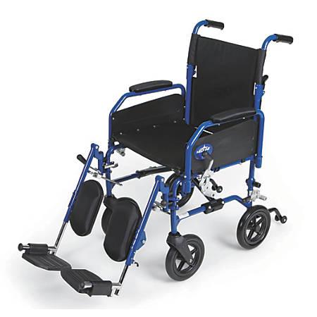 "Medline Hybrid 2 Transport Wheelchair, Elevating, 18"" Seat, Blue"