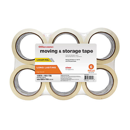 "Office Depot® Brand Low-Noise Moving & Storage Tape, 1.89"" x 109.4 Yd., Clear, Pack Of 6"