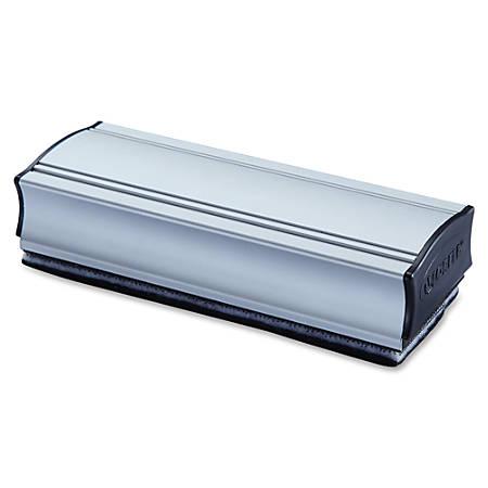 Lorell Magnetic Eraser - Magnetic - Silver, Black - Aluminum - 1Each
