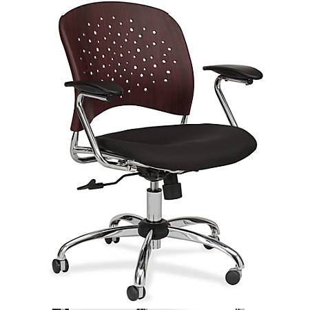 "Safco Reve Task Chair Round Plastic Wood Back - Fabric Black Seat - Wood-plastic Composite Mahogany Back - Chrome Frame - 5-star Base - 18.50"" Seat Width x 17"" Seat Depth - 24"" Width x 24"" Depth x 39"" Height"