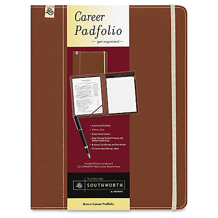 Southworth Leatherette Career Padfolio - Leatherette - Brown, Sand - 1 Each