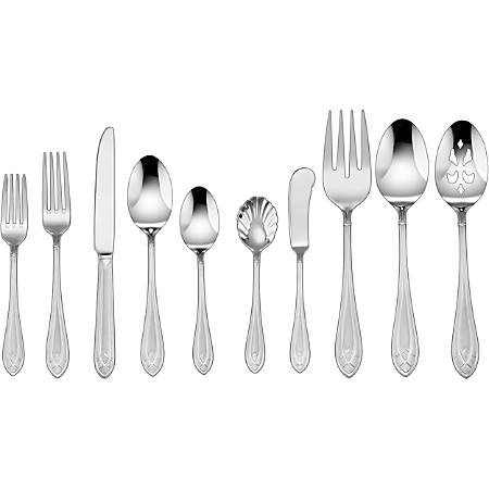 Cuisinart CF-01-AE45 Cutlery Set - 45 Piece(s) - 8 x Dinner Spoon, 8 x Teaspoon, 2 x Serving Spoon, 1 x Sugar Spoon - 8 x Dinner Knife, 1 x Butter Knife - 8 x Dinner Fork, 8 x Salad Fork, 1 x Serving Fork - Stainless Steel