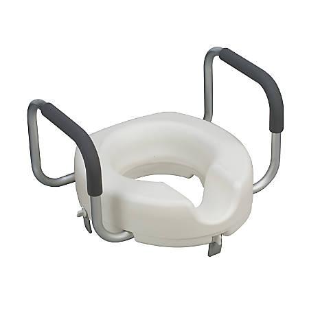 "DMI® Raised Locking Toilet Seat With Armrests For Round Toilets, 5""H x 17""W x 15""D, White"