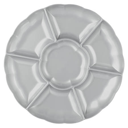 """Amscan Scalloped Sectional Chip 'N Dip Trays, 16"""", Silver, Pack Of 3 Trays"""