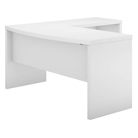 kathy ireland® Office by Bush Business Furniture Echo L Shaped Bow Front Desk, Pure White, Standard Delivery