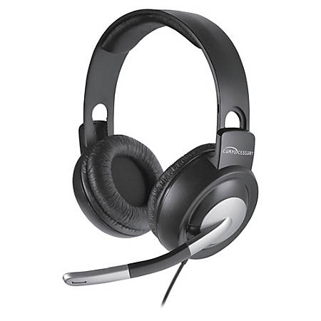 Compucessory Boom Microphone Stereo Headset - Stereo - Wired - 32 Ohm - 20 Hz - 20 kHz - Over-the-head - Binaural - Ear-cup - 8 ft Cable - Gray, Silver