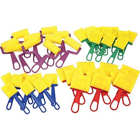 ChenilleKraft Foam Brushes/Rollers Classroom Pack, Plastic, Multicolor, 40 brushes