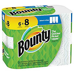 bounty select a size 2 ply paper towels 11 x 5 1516 white pack of 6