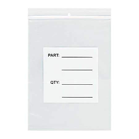 "Office Depot® Brand Parts Bags With Hang Holes, 10"" x 18"", Clear/White, Case Of 500"