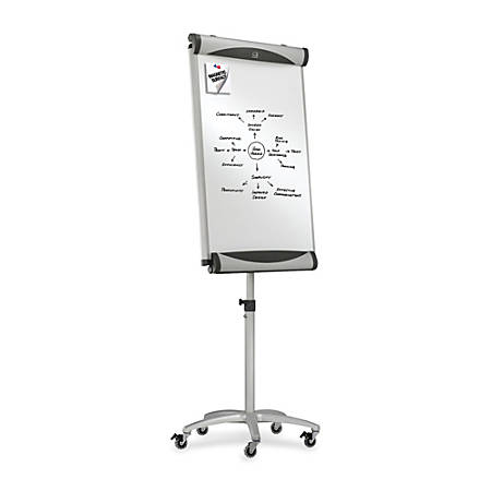 "Quartet® Premium Magnetic Presentation Easel With Wheels, 27"" x 41"", Steel Gray"