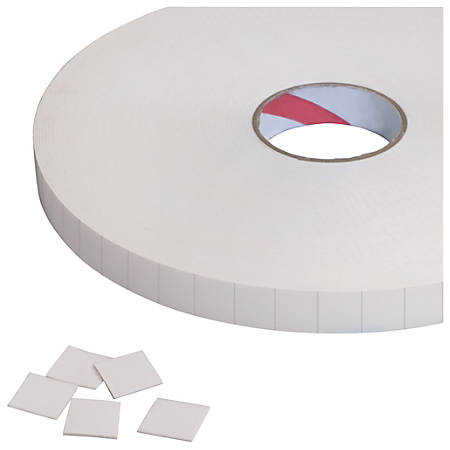 """Tape Logic® Double-Sided Foam Squares, 62.5 mils, 3"""" Core, 1"""" x 1"""", White, Roll Of 324"""