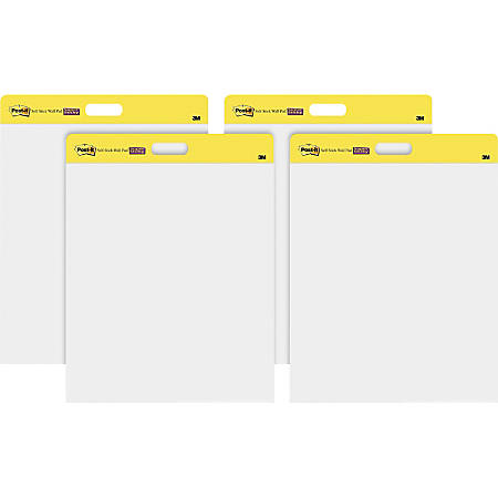 """Post-it® Self-Stick Plain White Paper Wall Pad - 20 Sheets - Plain - Stapled - 18.50 lb Basis Weight - 20"""" x 23"""" - White Paper - Self-adhesive, Repositionable, Bleed Resistant - 4 / Carton"""