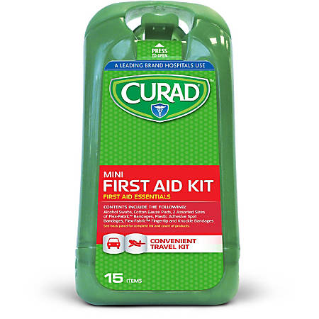 """CURAD® First Aid Kits, 15 Pieces, 5""""H x 1 1/4""""W x 2 5/8""""D, Green, Pack Of 24"""