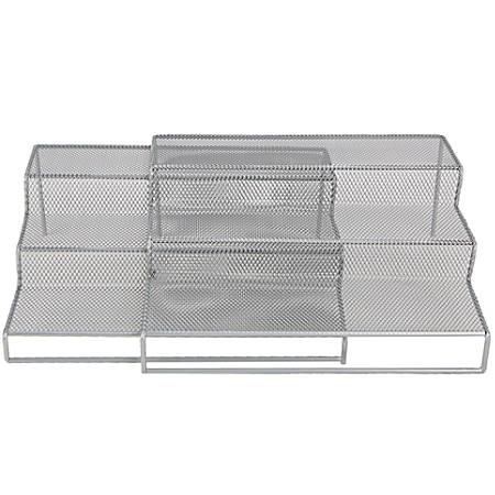 """Mind Reader 2-Piece 3-Tier Storage Shelf, 4""""H x 20""""W x 9 1/4""""D, Silver"""