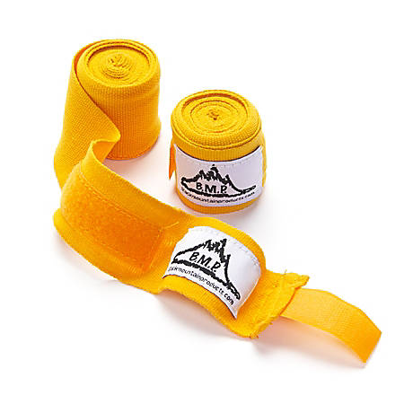 "Black Mountain Products Professional-Grade Boxing/MMA Hand Wrist Wraps, 140"", Yellow, Pack Of 2"