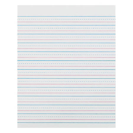 "Zaner-Bloser Pacon Broken Midline Sulphite Paper - 500 Sheets - 0.50"" Ruled - 8"" x 10 1/2"" - White Paper - 500 / Ream"