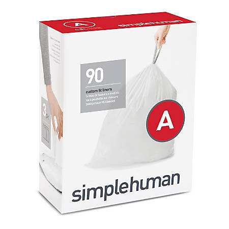 simplehuman Custom-Fit 0.03-mil Can Liners, 1.2 Gallons, White, Pack Of 360