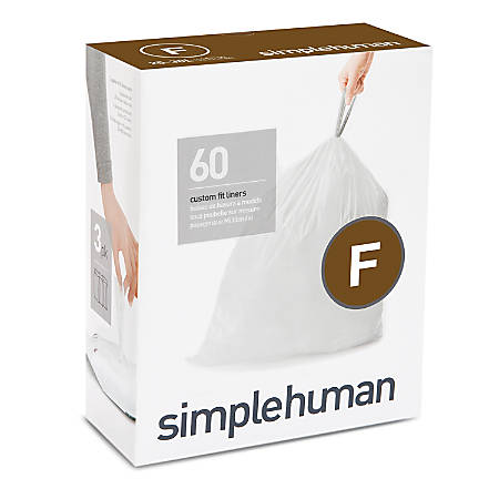 "simplehuman Custom-Fit Trash Can Liners, Code F, 0.025-mil, 6.6 Gallons, 20"" x 21"", White, Pack Of 240 Liners"