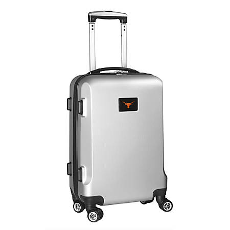 """Denco Sports Luggage Rolling Carry-On Hard Case, 20"""" x 9"""" x 13 1/2"""", Silver, Texas Longhorns"""
