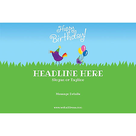 Custom Poster, Birthday Birds, Horizontal