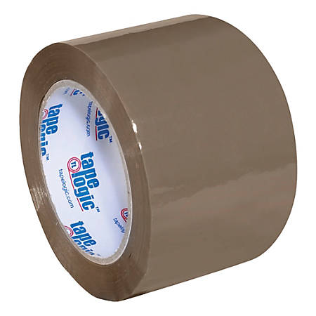 "Tape Logic® #400 Industrial Acrylic Tape, 3"" Core, 3"" x 110 Yd., Tan, Case Of 24"