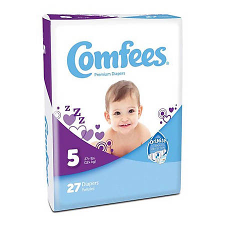 Attends® Comfees® Baby Diapers, Size 5, White, Pack Of 27