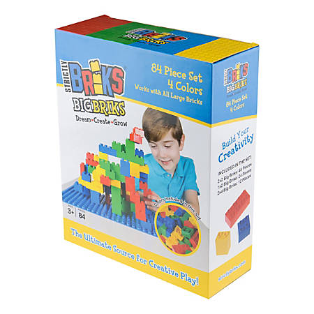 "Strictly Briks 84-Piece Big Bricks Set, 9""H x 3-1/2""W x 14""D, Assorted Colors, Preschool - Grade 2"