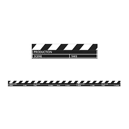 Eureka Deco Trim® Strips, Hollywood Clapboard, Assorted Colors, Pre-K - Grade 12, Pack Of 12