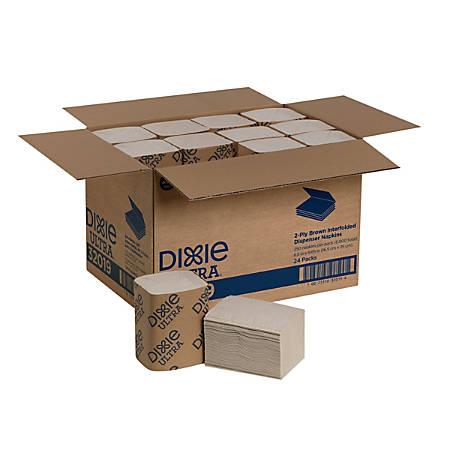 "Georgia-Pacific Dixie Ultra® 2-Ply Interfold Napkin Dispenser Refills, 6 1/2"" x 5"", Brown, 250 Napkins Per Pack, Case Of 24 Packs"