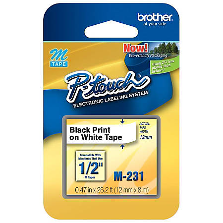 "Brother® M-231 Black-On-White Tape, 0.47"" x 26.2'"