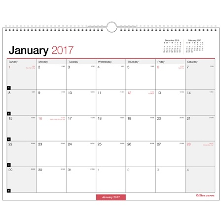office depot brand monthly wall calendar 15 x 12 30percent recycled blackred january to december 2017 by office depot officemax