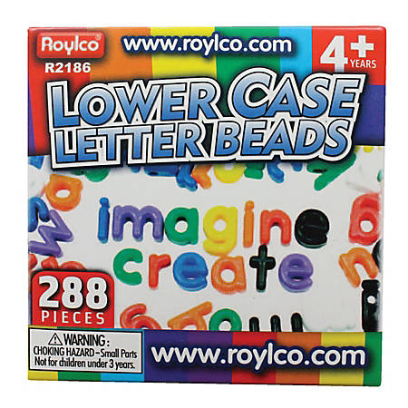 "Roylco® Lowercase Manuscript Letter Beads, 5/8 x 1"", Assorted Colors, Pack Of 288"