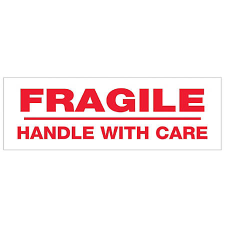 "Tape Logic® Fragile Handle With Care Preprinted Carton Sealing Tape, 3"" Core, 2"" x 55 Yd., Red/White, Case Of 18"