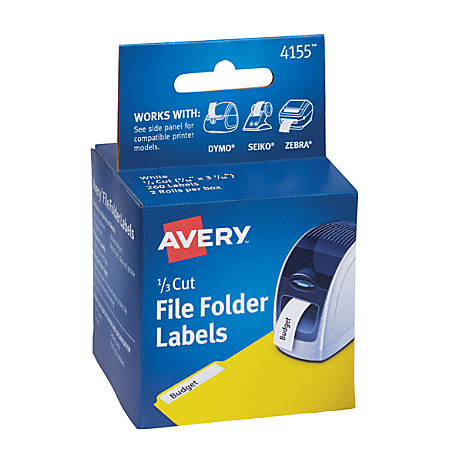 "Avery® Permanent Thermal Printer Water-Resistant File Folder Labels, Rectangular, 9/16"" x 3 7/16"", White, Pack Of 260"