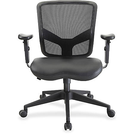 Lorell® Executive Mesh/Leather Mid-Back Chair, Black