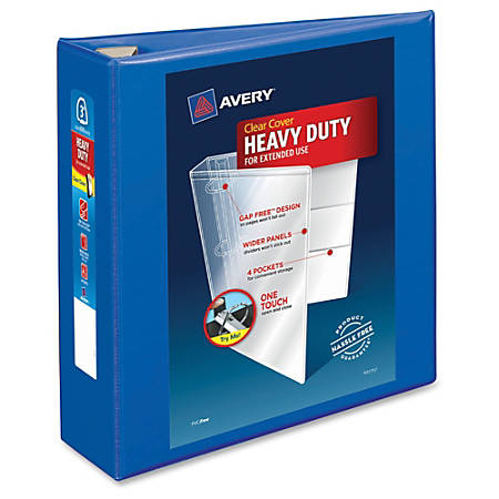 "Avery® Heavy-Duty View Binder With Locking EZD Rings, 3"" Rings, 39% Recycled, Pacific Blue"