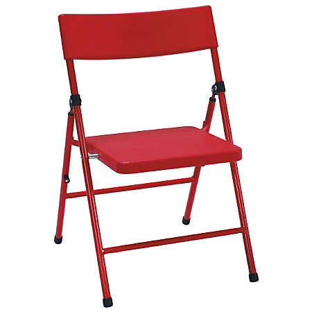 Cosco Kid's Pinch-Free Folding Chairs, Red/Red, Pack Of 4