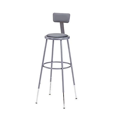 """National Public Seating Adjustable Vinyl-Padded Stool With Back, 38 - 47 1/2""""H, Gray"""